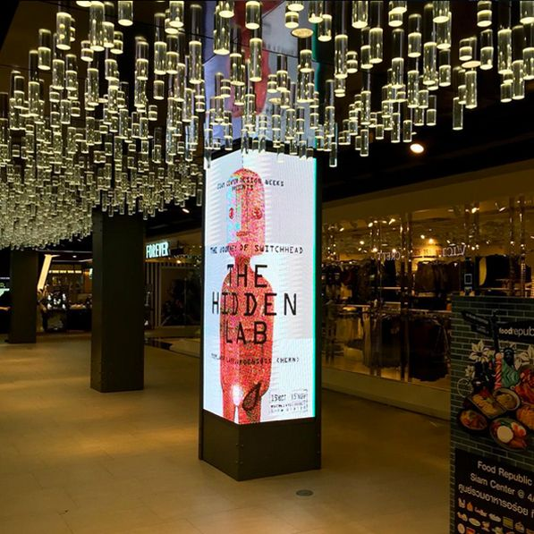 LED digital signage on pillars at the Siam Center in Bangkok