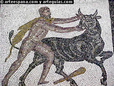 Los mosaicos romanos se basan en los tapices y especialmente en la pintura. Tiene la ventaja con relación a la pintura de su gran durabilidad. Sin embargo los asuntos representados en los mosaicos son los mismos que pueden encontrarse en la pintura, aunque obligadamente su perspectiva es más falsa y forzada.