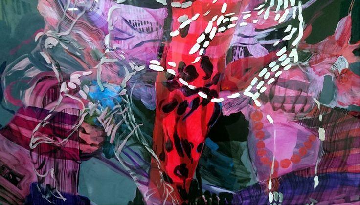 Elina Ruohonen.  Yksityiskohta maalauksesta Mixed Conception, öljy akryylilevylle, 150x165 cm, 2016