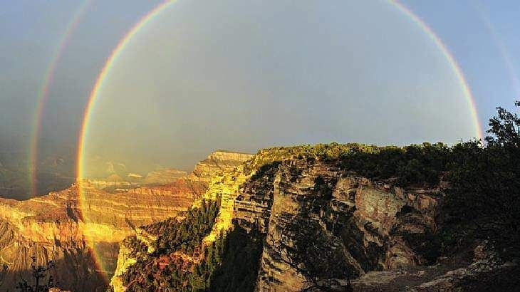 #images #physique #arc-en-ciel #couleur #double arc-en-ciel #grand canyon