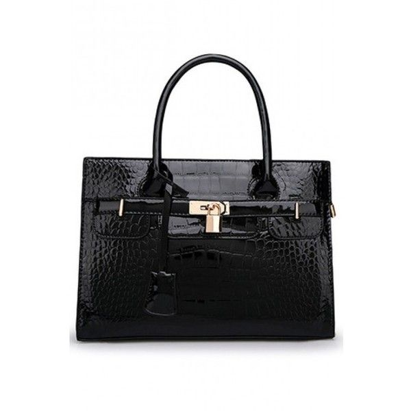 LUCLUC Black OL Crocodile Pattern Sathcel Bag (€24) ❤ liked on Polyvore featuring bags, handbags, lucluc, purses, croco handbags, crocodile handbag, black bag, black crocodile bag and black handbags