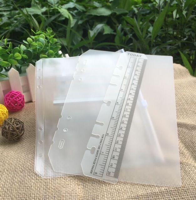 3 unids PVC juego de Accesorios bolso de la tarjeta bolsa de almacenamiento A5 A6 cuaderno espiral facturas cremallera bolsillo insertar diario de hojas sueltas carpeta de anillas relleno
