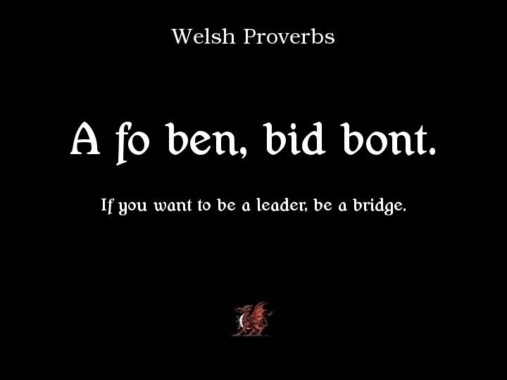 Proverbs: If you want to be a leader, be a bridge. If you want to say it poetically, write in in Welsh.