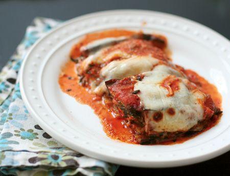 Eggplant Parmesan Lasagna with Swiss Chard (aubergine-parmezaanlasagne met snijbiet)