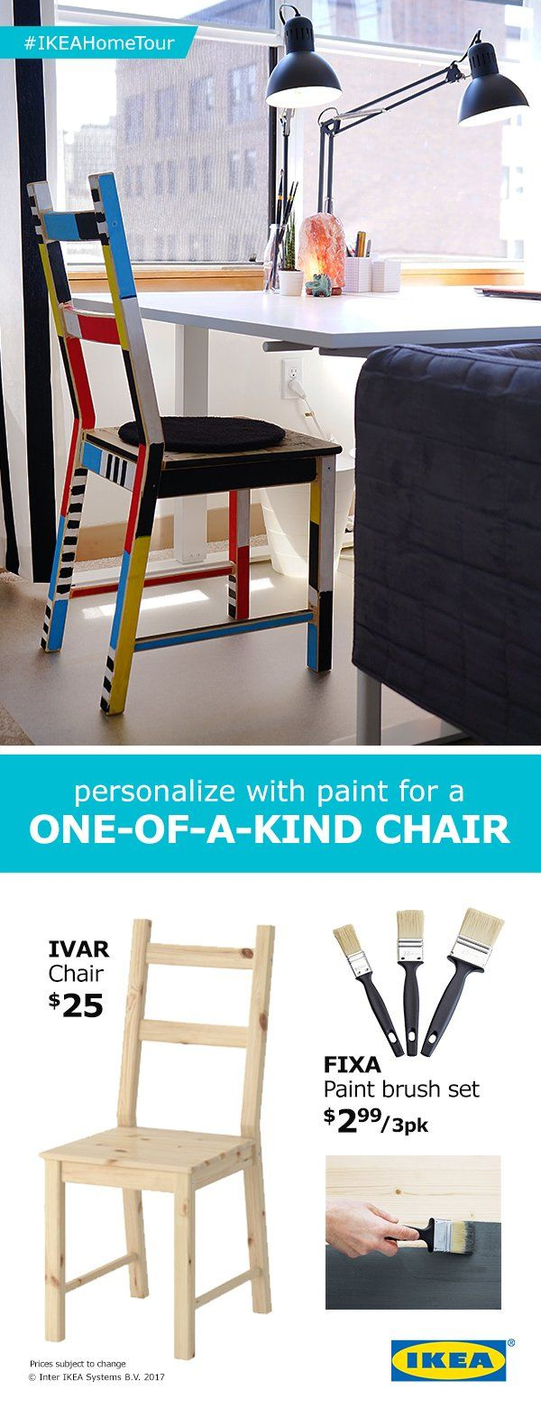 Tips from the IKEA Home Tour Squad to personalize your space. For a one-of-a-kind look and feel in your space, try painting the IVAR chair in any style or color that fits your look!