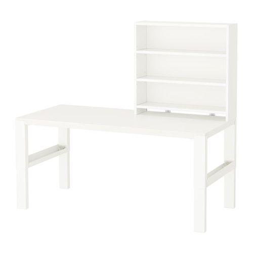 IKEA - PÅHL, Bureau avec tablette, blanc, , Le fond présente deux faces de couleurs différentes, vert ou blanc, choisissez celle qui vous convient.
