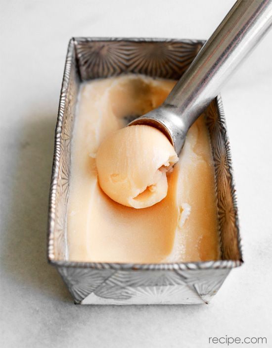Homemade Peach-Mango Sorbet