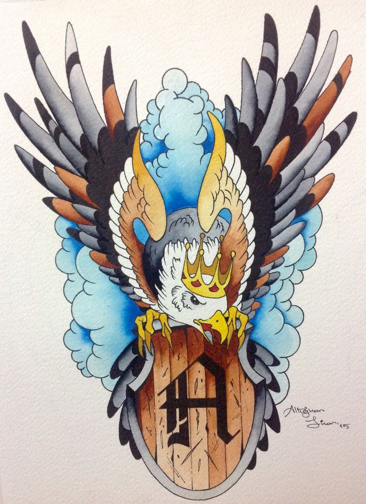 Watercolor. Oldschool eagle sketch.  Altuğhan Sinan