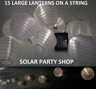 NEW DESIGN EXCLUSIVE TO SOLAR PARTY SHOP! 15 Gorgeous White Solar Chinese Lanterns with Warm White LED Fairy Lights on a green solar string