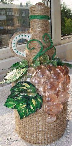 Декор предметов Ассамбляж Плетение Украшение бутылки Бутылки стеклянные Шпагат фото 1
