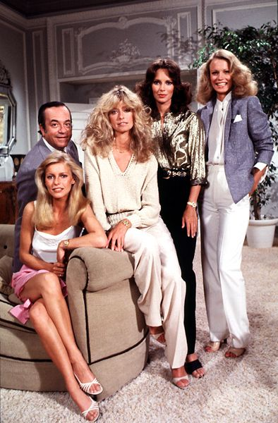 cheryl ladd, David Doyle, Farrah Fawcett, Jaclyn Smith Shelly Hack/****Sabrina is gone; Farrah doesn't look too happy to be there; the others are just along for the ride.