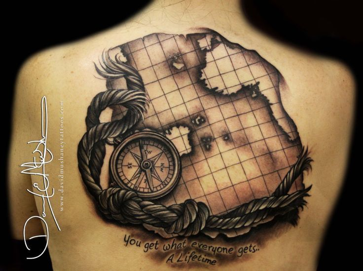 Old World Map Back Tattoo. Grey Ink Compass Back Body Tattoo 42 best Tattoos images on Pinterest  rose and