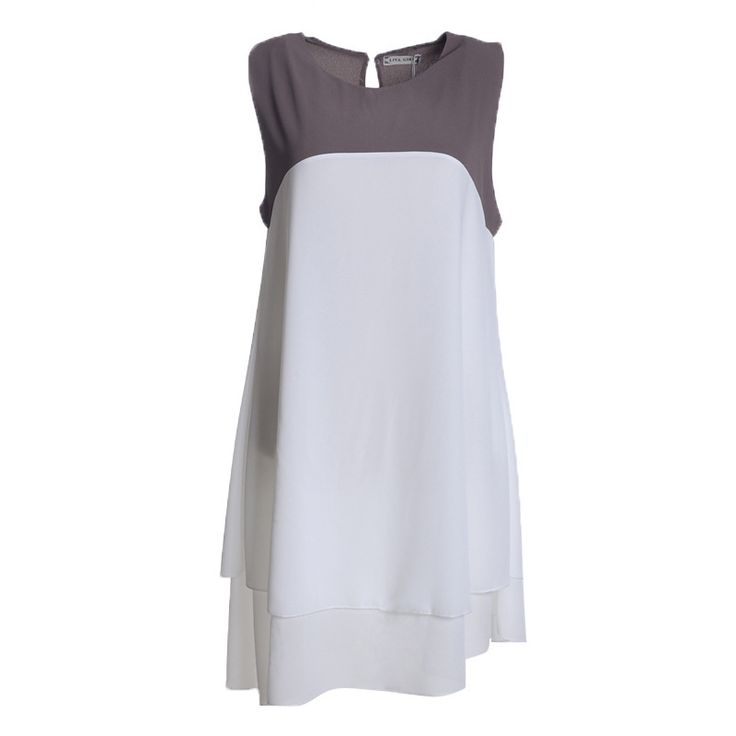 Платье полиэстер, женщины свободного покроя лето двойной десять этажный контрастность цвет S / M / L / XL купить на AliExpress