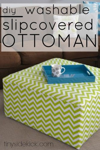 DIY Slipcovered Ottoman perfect for a kid's space because it can easily be removed and washed.