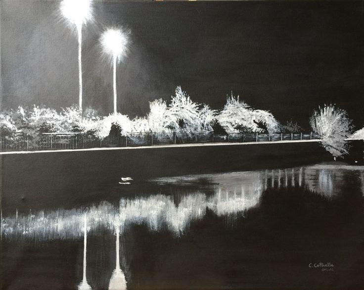 Paysage de nuit. (Peinture),  50x40x2 cm par Christelle Cottrelle Paysage de nuit.  Sous la lumière des lampadaires, tout devient noir ou blanc, les couleurs ont disparu. Les arbres blancs ou gris se reflètent dans l'eau noire. Tableau de 40x50. Peinture acrylique.