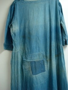 19th c ladies dress blue calico.  Love the patch.