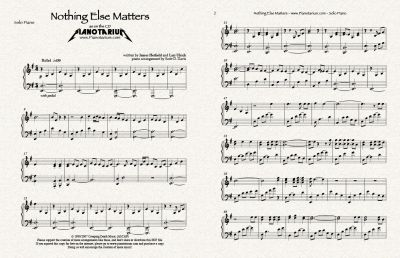Nothing else matters sheet music piano free