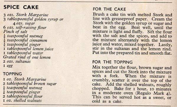 Spice Cake wartime recipe