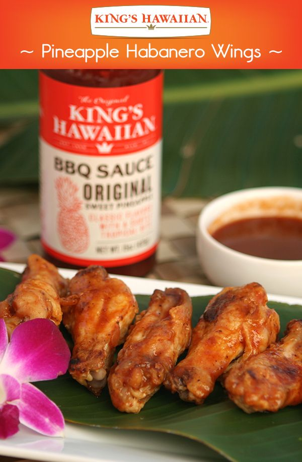 These Pineapple Habanero Wings are a classic appetizer coated with Dole Pineapple Juice and KING'S HAWAIIAN Original Sweet Pineapple BBQ Sauce! Pro tip: this is perfectly paired with a Kona Brewing Company Longboard Island Lager. Cheers to #HawaiianFoodsWeek!