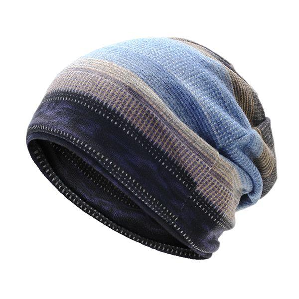 3d89a51f8 Mens Stripes Beanie Hat Outdoor Winter Plus Cashmere Warm Bonnet Hat ...