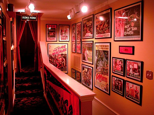 Entering the Home Theatre. I LOVE old Horror Film Posters and actually collect some myself. I see them as art since they were so meticulously drawn and painted to attract fans :) Ok so heading on down the stairs...