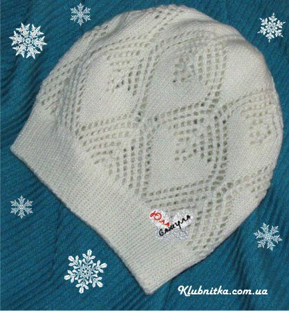 "Beanie with hearts (adult) ""Club Thread - knitting and not only"