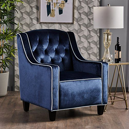 Best Gianna Two Tone Tufted New Velvet Club Chair Cobalt With 640 x 480