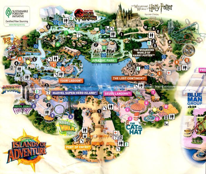 Universal Orlando Florida Map.Park Map Universal Studios Florida Islands Of Adventure Theme Park