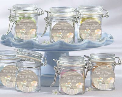 Rustic Mason Jars Wedding Favour Jars (set of 12) - Customised Bomboniere - Wedding Bomboniere & Wedding Favours