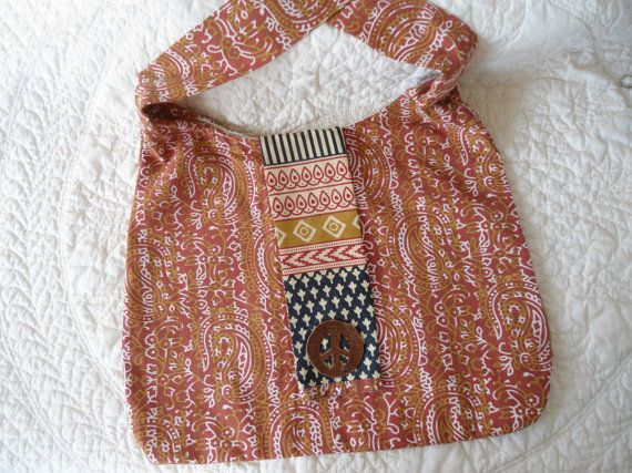 Large Hobo Style Hippie Crossover Purse Orange by LandofBridget