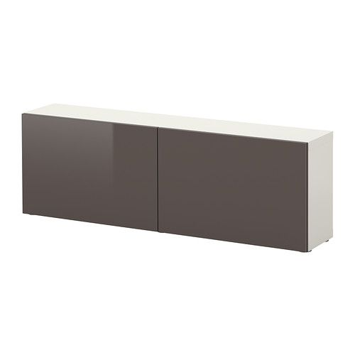 Ikea besta shelf unit with doors white high gloss gray for White gloss sideboards at ikea