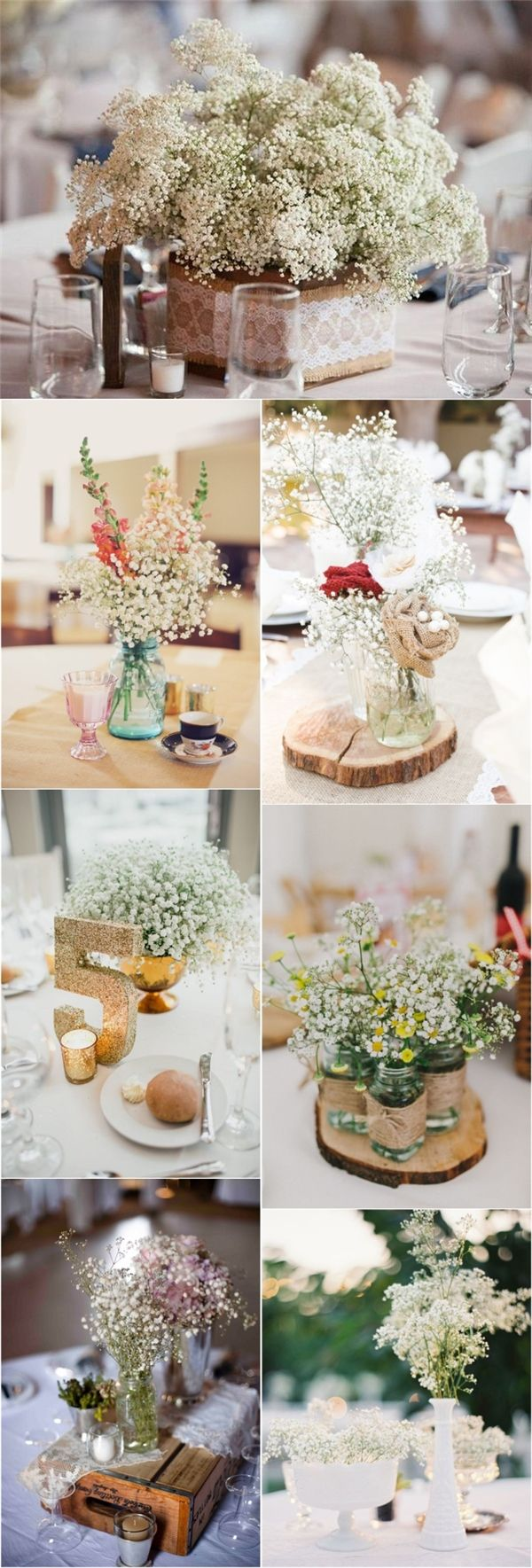 rustic baby breath wedding centerpieces / http://www.deerpearlflowers.com/rustic-budget-friendly-gypsophila-babys-breath-wedding-ideas/3/