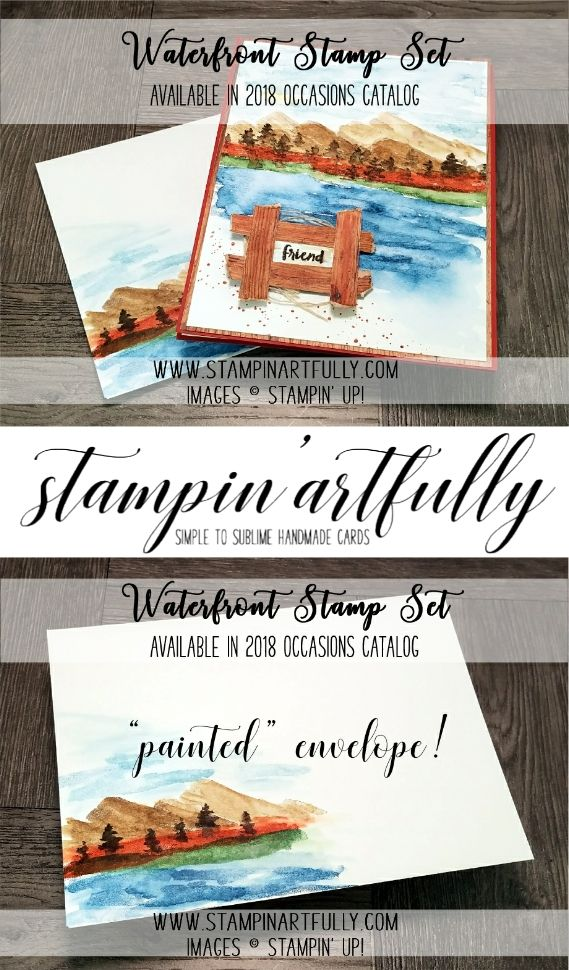 Kim Jolley's Stampin' Artfully blog...Waterfront stamp set from 2018 Occasions catalog.
