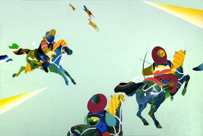 Tomokazu Matsuyama. works mostly with acrylics on canvas or paper