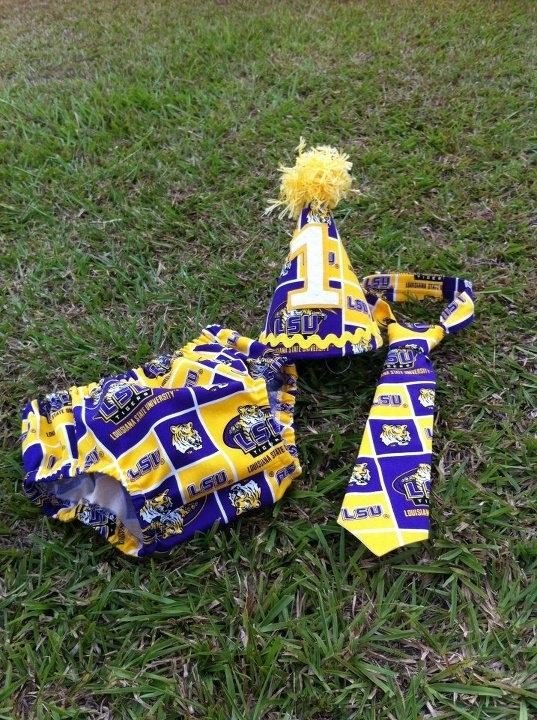 LSU Louisiana First 1st Birthday Baby Boy by ThreeLittleGators, $15.00