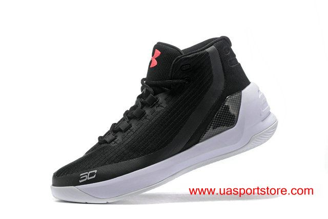 Under Armour UA Curry 3 Demon King Black White Pink Logo Men's Basketball Shoes