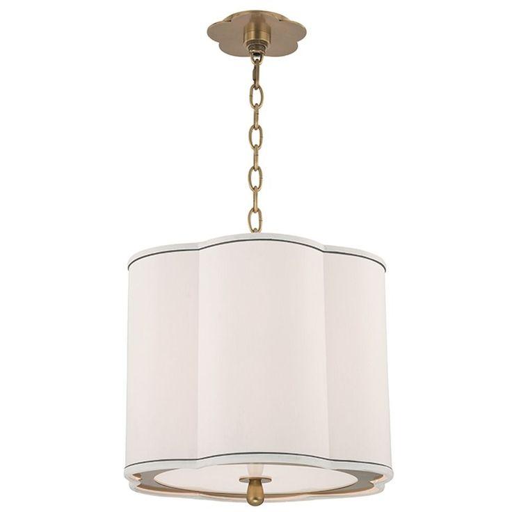 Hudson Valley Lighting Sweeny 3 Light Pendant Light Drum Shade   Aged Brass  7915 AGB