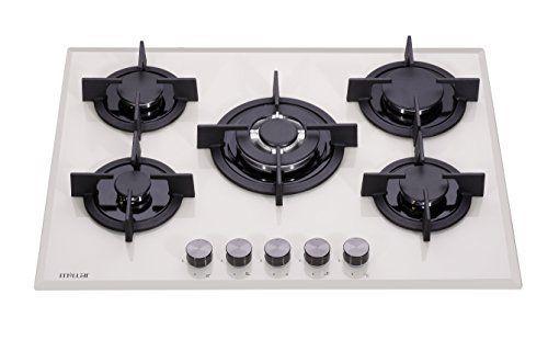 Millar GH7051PM Plaques de cuisson en Verre trempé avec 5 brûleurs à gaz Beige 70 cm: Caractéristiques techniques : surface en verre trempé…