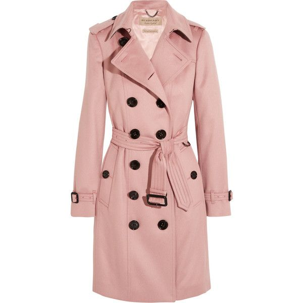 Burberry London The Sandringham cashmere trench coat ($2,895) ❤ liked on Polyvore featuring outerwear, coats, blush, military style coat, burberry coat, pink double breasted coat, burberry trenchcoat and military style trench coat