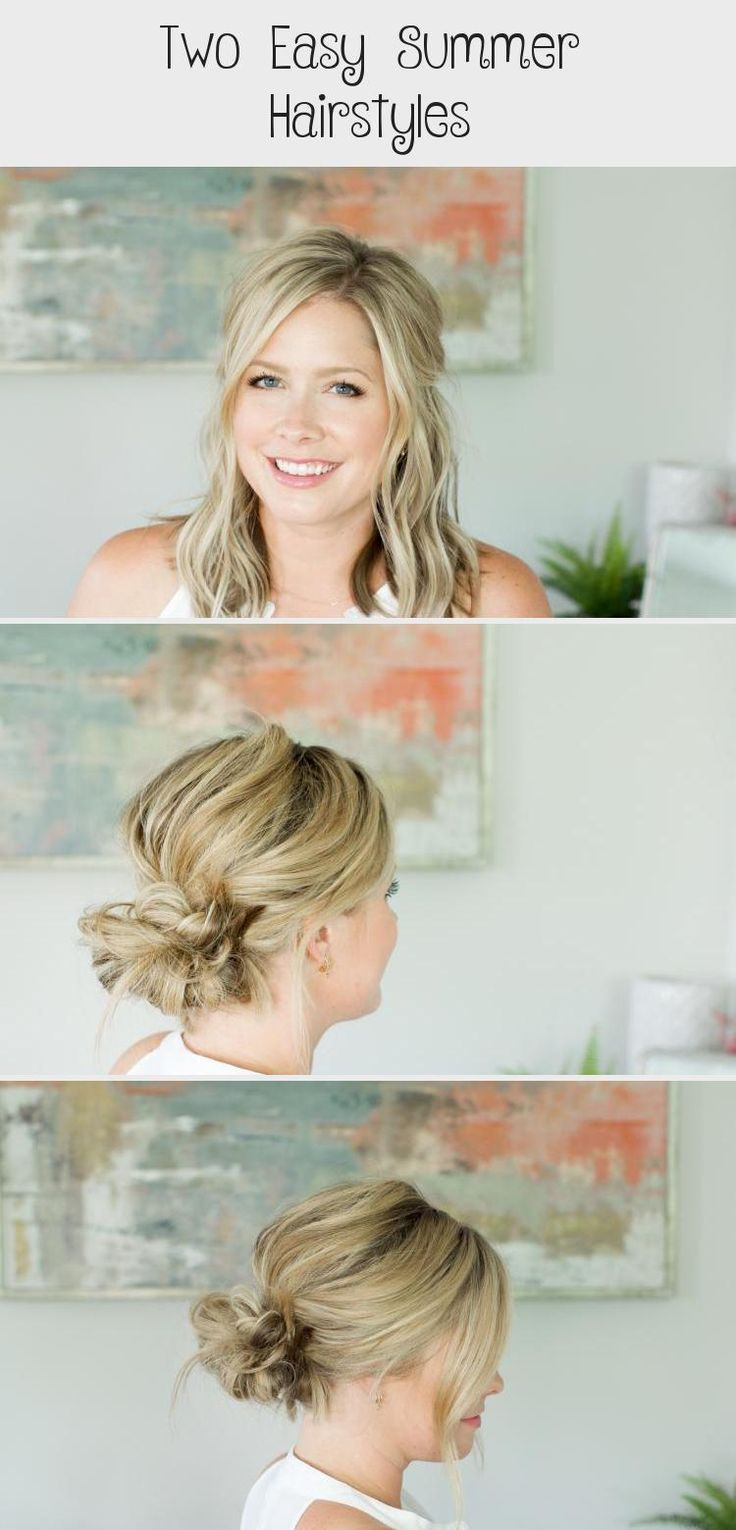 Two EASY Summer Hairstyles // by Kate Bryan at the Small Things Blog #summerhairstylesLob #summerhairstylesScarf #summerhairstylesForBlackWomen #summerhairstylesBlonde #Heatlesssummerhairstyles