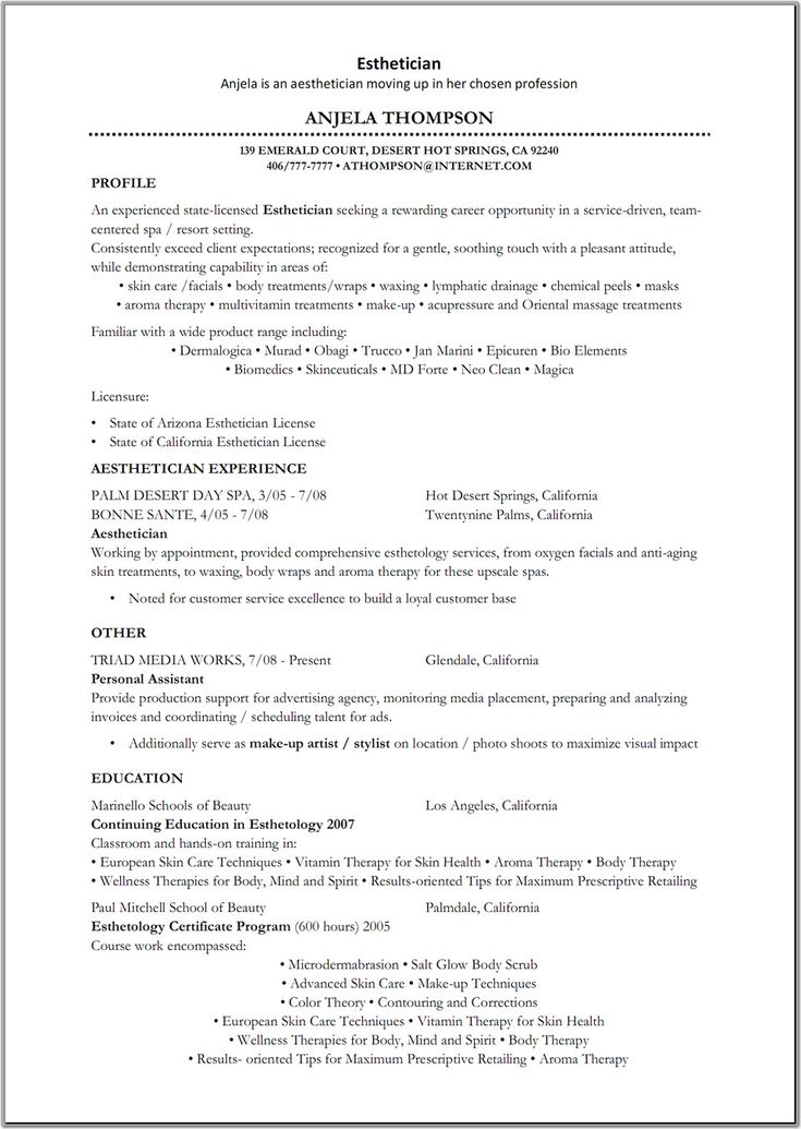 Esthetician resume sample for Cover letter for esthetician position