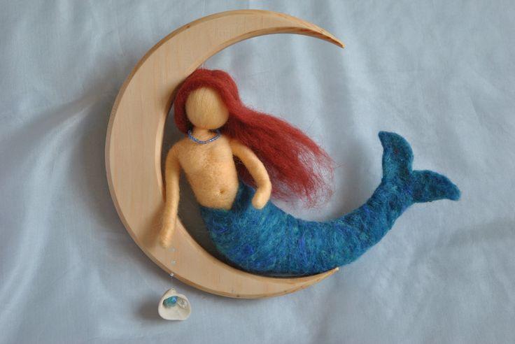 Mermaid on the Moon, #magicwoolFelt Dolls, Dolls Mobiles, Felt Mermaid, Dolls Felt, Waldorf Inspiration, Inspiration Needle, Needle´S Felt, Needle Felt, The Moon