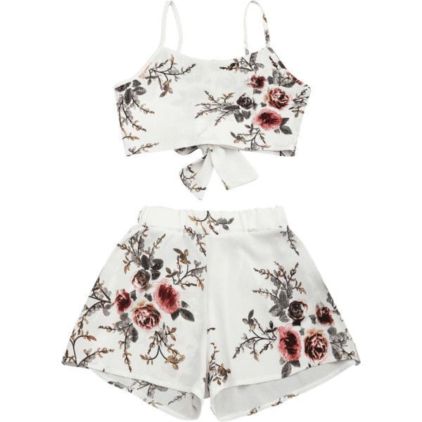 Floral Print Cami Top And Shorts Suit ($17) ❤ liked on Polyvore featuring floral camisole, floral two piece, floral cami, white cami and white two piece