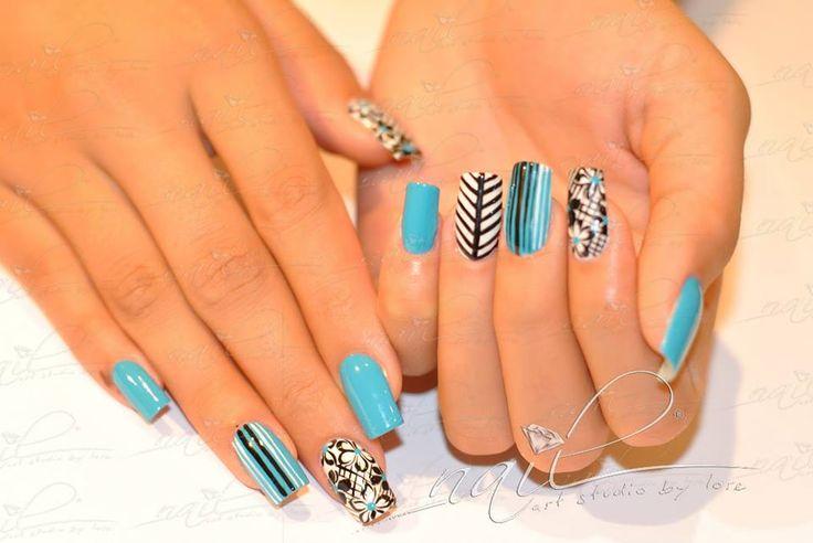 nails  design blue nail art