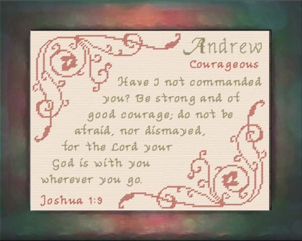 Cross Stitch Andrew with a name meaning and a Bible verse