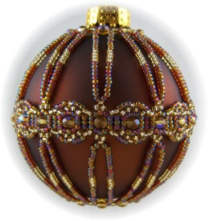 Free Beaded Ornament Cover Patterns | beaded ornament cover pattern | Infinity Ornament Cover Kit Topaz/Gold