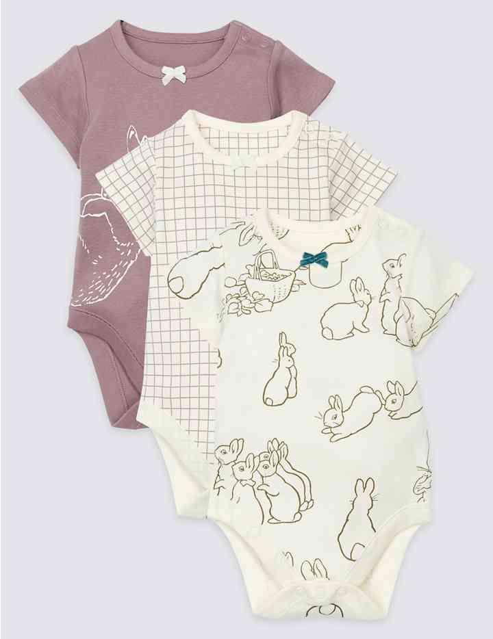 6fff6e91a6de 3 Pack Peter Rabbit™ Pure Cotton Bodysuits