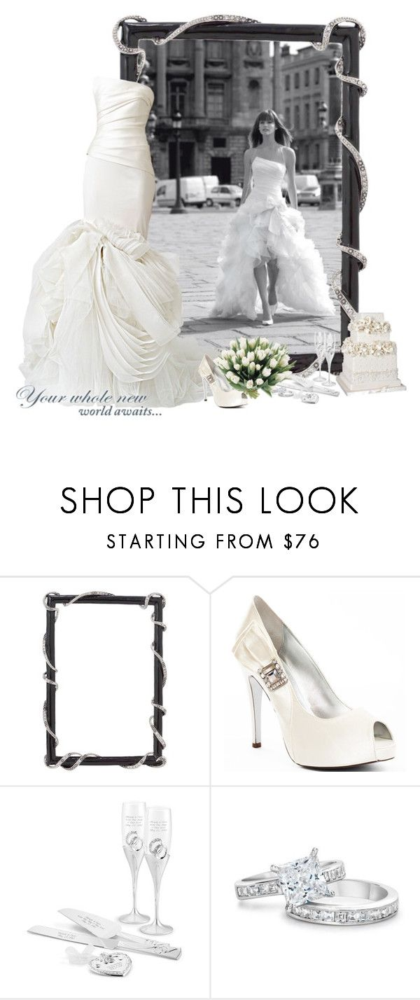 """Your whole new world awaits"" by anna-nemesis ❤ liked on Polyvore featuring Olivia Riegel, Vera Wang, Martinez Valero, Angelo and wedding"
