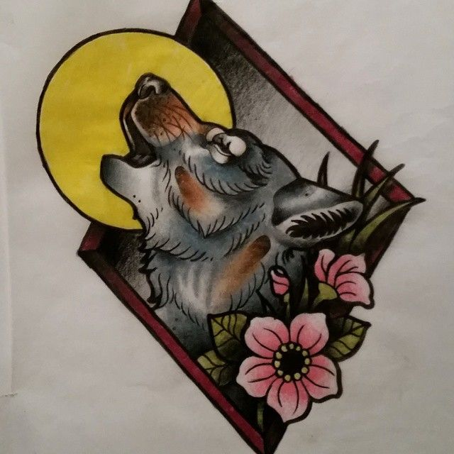 Multicolor New School Howling Wolf In Rhombus Frame Tattoo Design Wolf Tattoo Traditional Traditional Tattoo Framed Tattoo