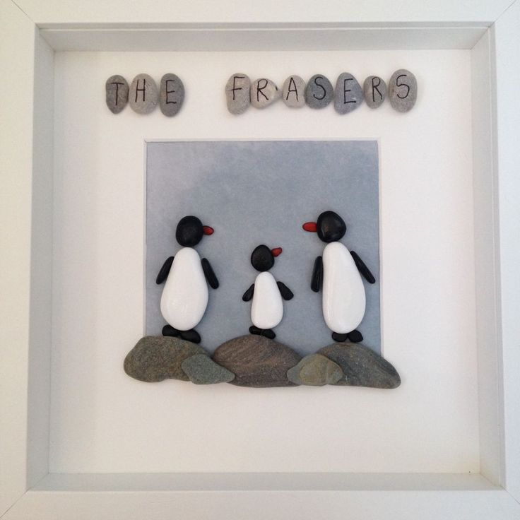 Handmade, Bespoke Pebble Art - Penguin Family in Home, Furniture & DIY, Home Decor, Photo & Picture Frames | eBay!